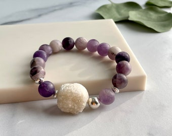 Matte Amethyst and Druzy Bracelet, Purple and White Stone Bracelet