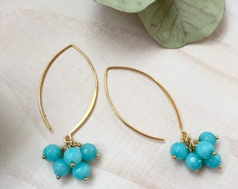 Faceted Amazonite and Gold Cluster Earrings