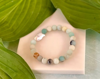 8mm Matte Amazonite Bracelet With Baroque Pearl - Blue Stretch Bracelet - Matte Amazonite Stretch Bracelet - Beach Jewelry