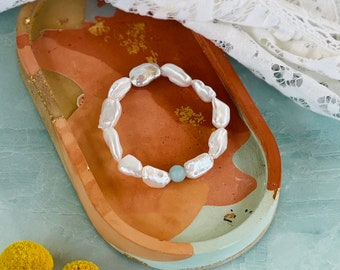 Baroque Pearl and Amazonite Stretch Bracelet, Organic Pearl Stacking Bracelet