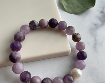 Matte Amethyst and Pearl Stretch Bracelet, Purple and Pearl Stretch Bracelet