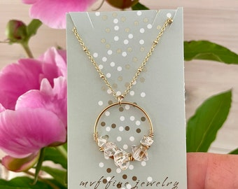 Herkimer Diamond and Gold Filled Circle Pendant Necklace, Herkimer Diamond Necklace