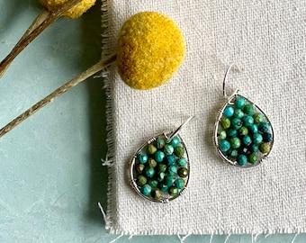 Mini Turquoise and Silver Teardrop Earrings, Turquoise Wire Wrapped Earrings in Sterling Silver, Turquoise and Silver Hoop Earrings