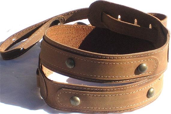 UK Made Brown Soft Leather Clip-On Hook Banjo Strap
