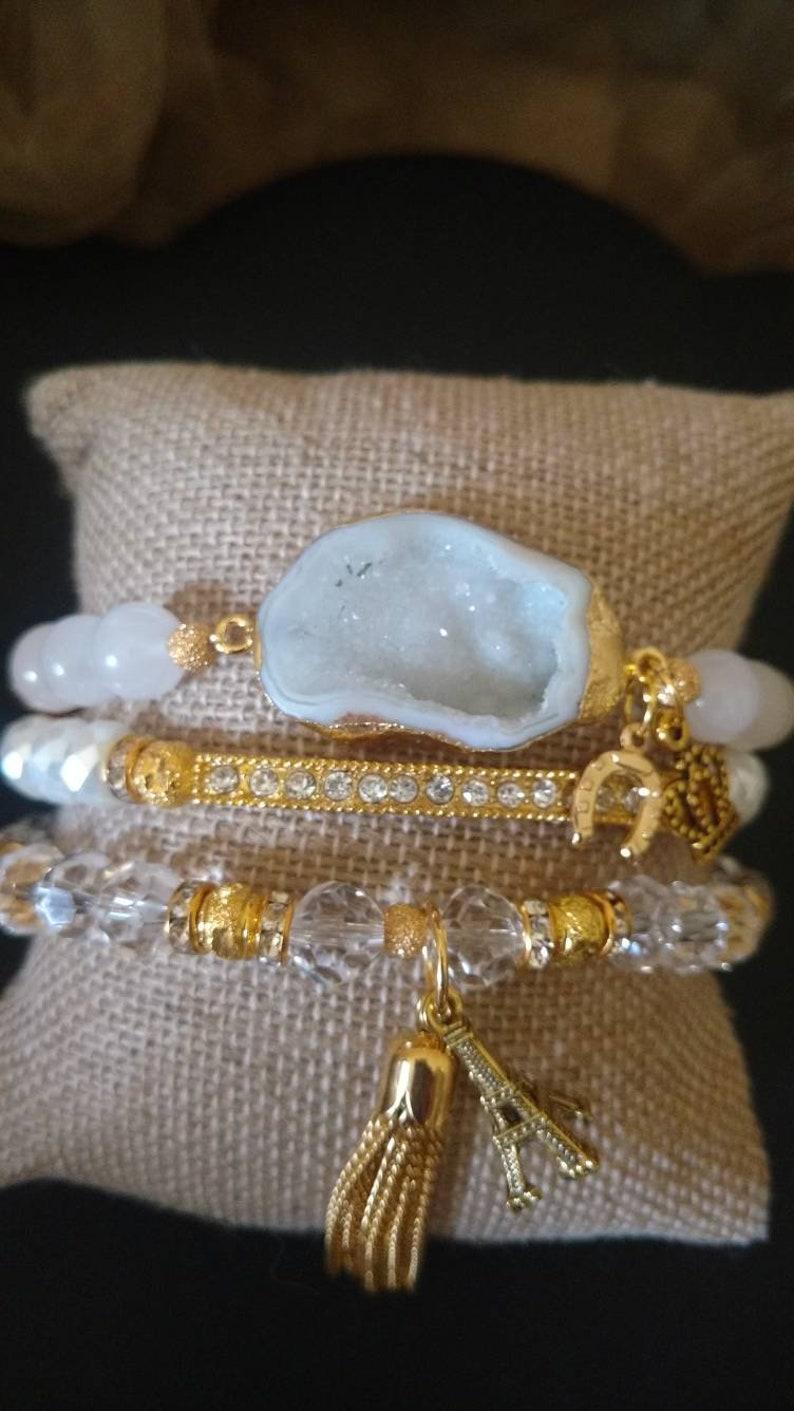 Boho 3 piece White Agate Druzy quartz crystal rhinestone Eiffel Tower crown charm tassel stretch bracelet stack set