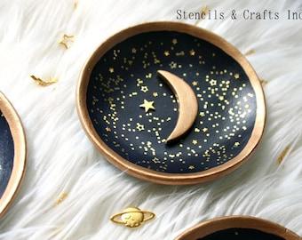 celestial Moon Crescent Dish- moon crescent bowl trinket dish moon phase dish
