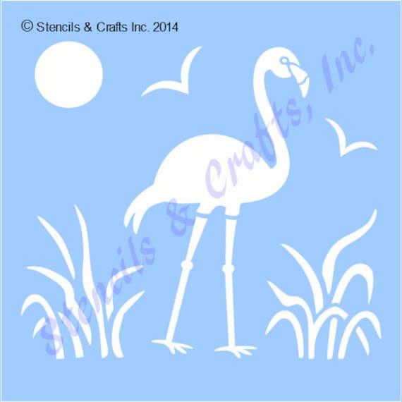 10 1 4 Flamingo Schablone Vogel Vorlage Tropischen Etsy