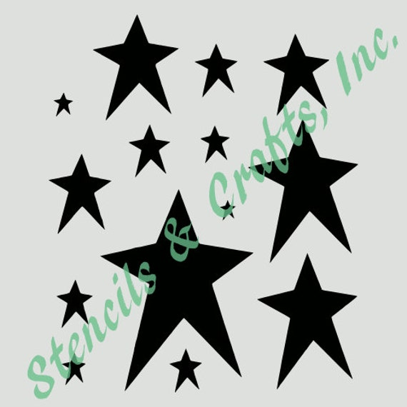 primitive stars stencil assorted celestial star stencils etsy