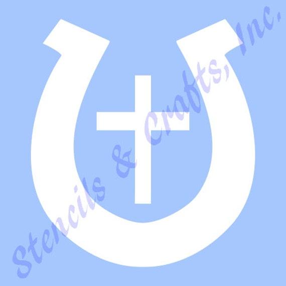 Hufeisen Kreuz Schablone Schablonen Vorlage westlichen