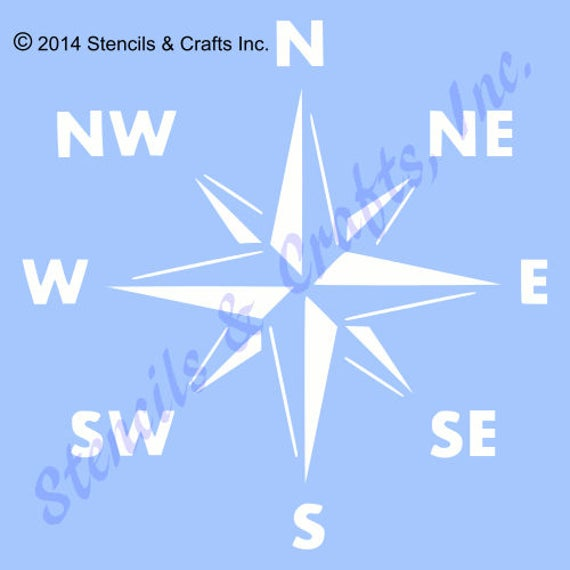 Crossing Arrows Compass Face STENCIL  Travel//Nautical  Available In 2 Sizes!
