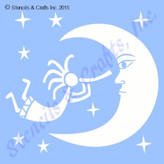 Kokopelli western stencil moon template flute star stars etsy image 0 maxwellsz