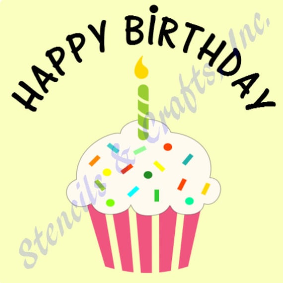 CUPCAKE STENCIL TEMPLATE Happy Birthday Candle Templates