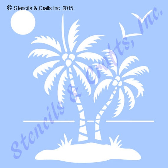 palm palms stencil ocean sun bird birds templates beach etsy
