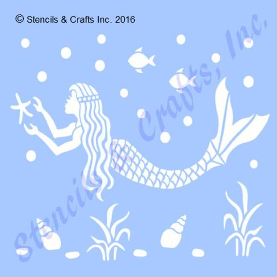 5 mermaid stencil nautical beach ocean templates etsy