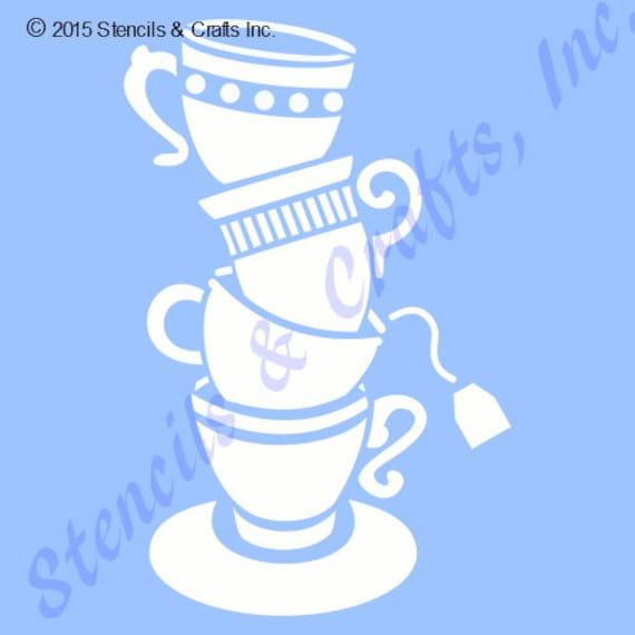 Teacups coffee stencil cup template tea cups stencils pattern etsy image 0 maxwellsz