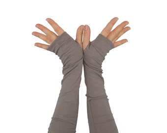 Arm Warmers in Reverie Pewter - Grey Organic Cotton Fingerless Gloves