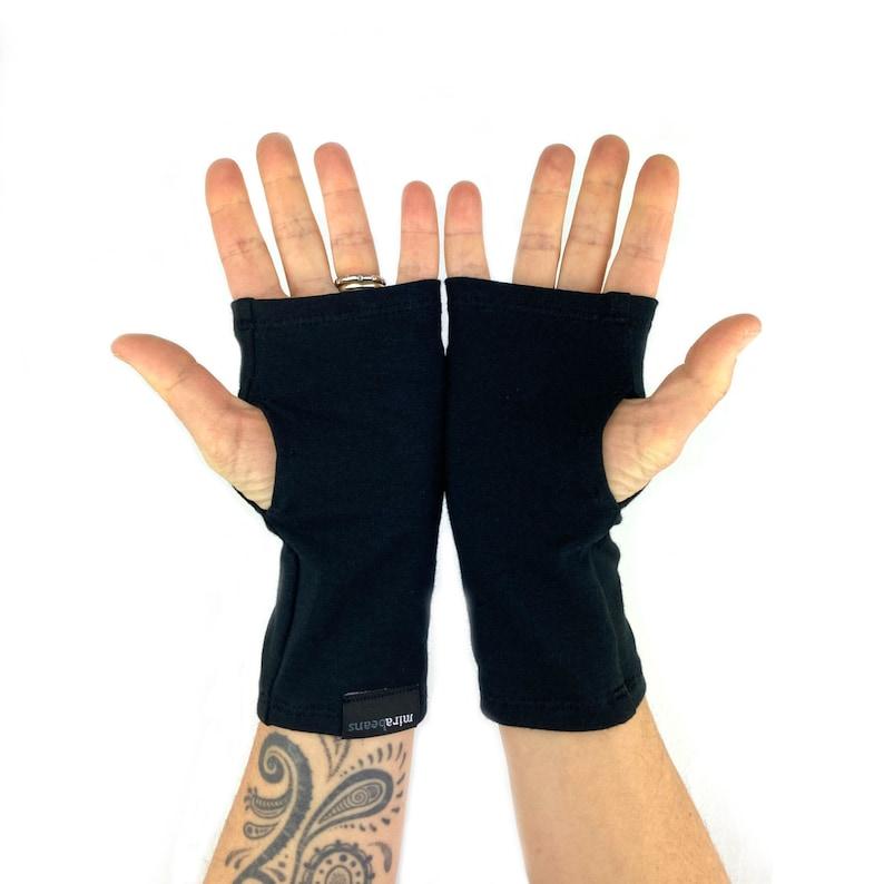 Arm Warmers in Raven Black Shortie Fingerless Gloves