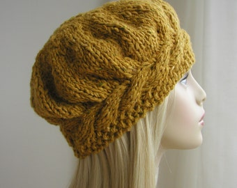 1c2c6562e133 Weekend Cable Beret Tam Hat Knitting Pattern