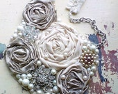 Romantic silver screen star (( statement bib Necklace )) Gray\/bronze shimmer