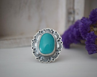 Pilot Mountain Turquoise Ring Size 7.5 Sterling Silver