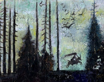 Forest serie 01 - the ride witch ride - original painting - on paper A4 21x29.7 cm