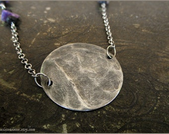 Full Moon Charoite silver necklace - Gemstone vintage jewelry