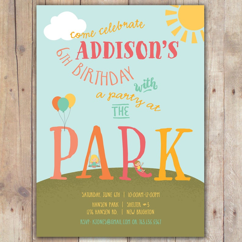 Park Birthday Party Invitation Playground