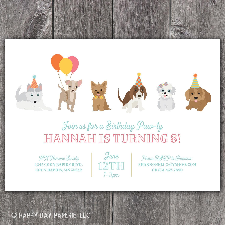 Puppy Birthday Party Invitation Dog Birthday Party Invite | Etsy
