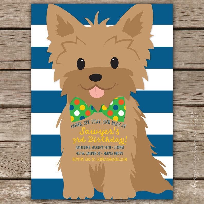 Boy Puppy Birthday Party Invitation Dog Birthday Invite Etsy