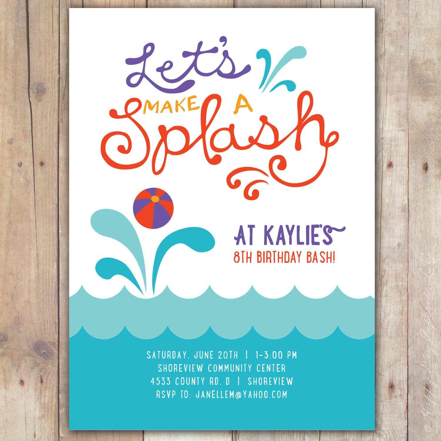 Pool Party Birthday Invitation Swimming