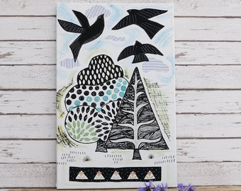 Birds & Trees Wall Canvas,Handprinted Fabric Picture, Flying Birds