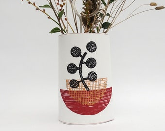 Terracotta Print Fabric Vase Cover/ Wrap-Around Container Cover