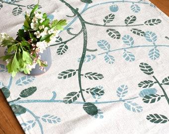 Leaf trail Rustic Table Runner/ Handprinted/ Linen Runner
