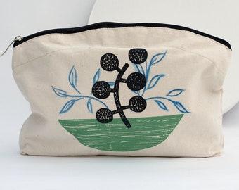 Hand Printed Fabric Wash Bag / Make Up Bag with Zip