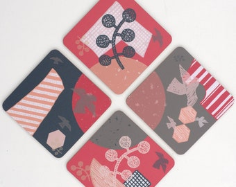 Set of 4 Square Coasters/ Printed Hardboard Coasters