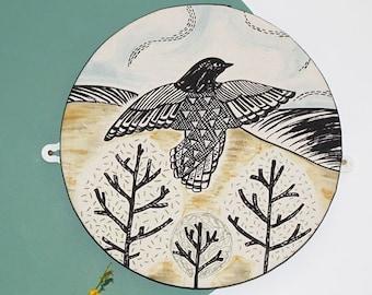 Flying Starling Wall Art/ Circular Wall Plaque/ circular Wall Canvas