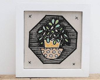 Succulent Framed Mini Fabric Picture