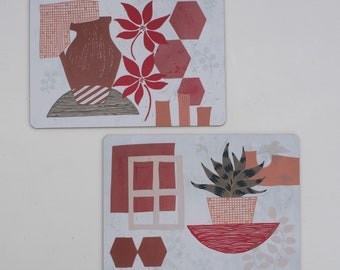 Set of 2 or 4 Printed Placemats/ Hardboard Placemats