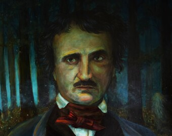 Print - Poe's Woods -  Edgar Allan Poe in the Forest with a Spirit