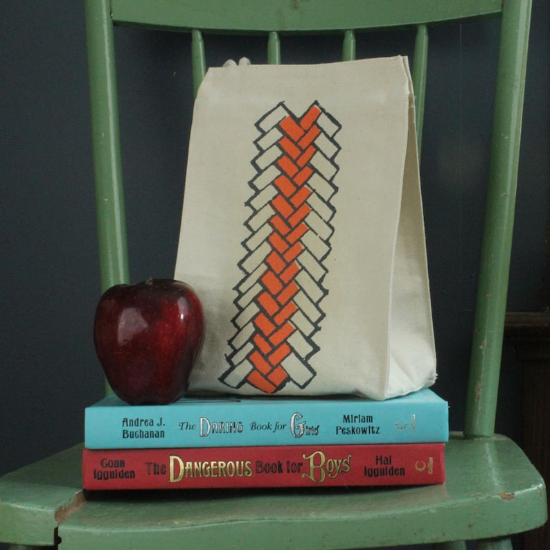 Lunch bag geometric brick pattern recycled cotton bright peach and steel gray water based ink