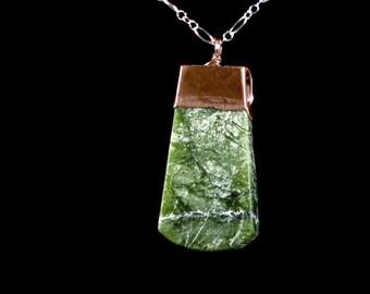 Nephrite Jade Pendant - copper topped, electroformed, natural green jade, polished 1 side, rough 1 side, medium