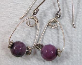 Purple Agate Earrings - sterling silver, statement, dangle, long, wire wrapped, handmade