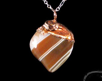 Carnelian Nugget Pendant - copper topped, electroformed, natural carnelian, tumbled, dark orange, white, striped