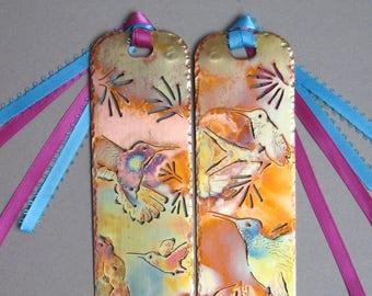 The Art Bookmark -  CUSTOM design, personalized, hand drawn art, metal bookmark, copper, colorful, patina, fantasy, realistic, sci fi
