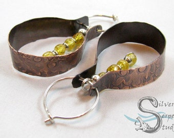 Copper & Yellow Sapphire Hoop Earrings - one of a kind, large, bohemian, natural materials, sterling silver, textured, aged