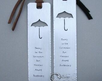 The Matching Set Bookmarks - CUSTOM design, personalized, handmade, stamped, original artwork, couple's bookmarks, copper, brass, aluminum