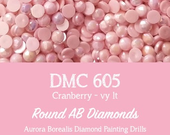 100 Pcs Aurora Borealis AB DMC 601 Round Diamond Painting Drills 601 Cranberry AB Drills Diamond 2.8mm Diamond Drills Iridescent Drills