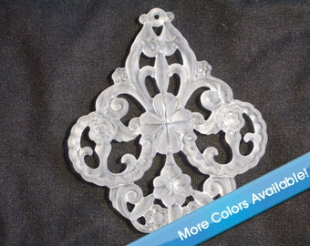 20 Pieces Frost White 56mm x 50mm Filigree Pendant West German Lucite Flower Beads Dyeable Beads Jewelry Beads