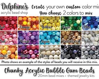 Polka Dot Mix Acrylic Assortment Bubblegum Bead Lot DIY Mix Wholesale Lot 20mm Chunky Beads 50 or 100 Piece Bulk Lot