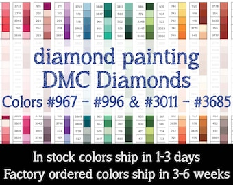PRINT YOURSELF DMC Color Charts Diamond Painting Drill Color